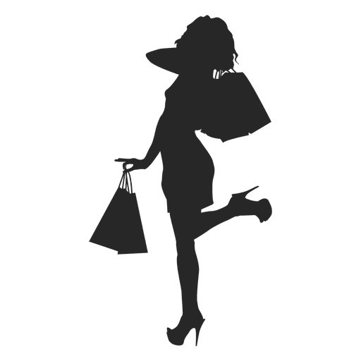 Female shopping silhouette with bags