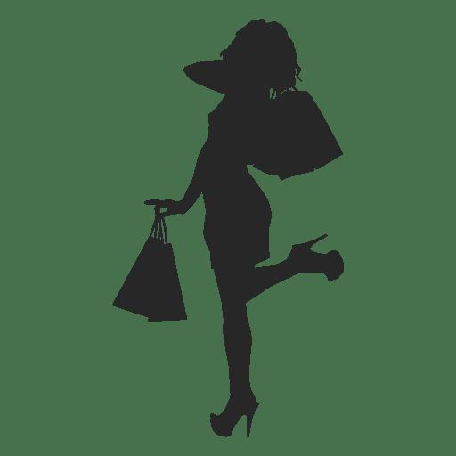 Silueta femenina de compras con bolsas
