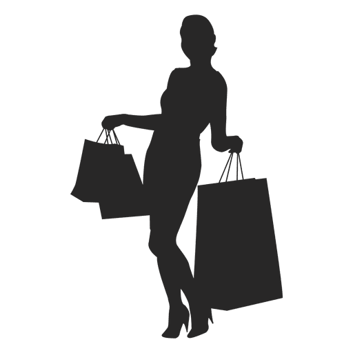 female with shopping bags png