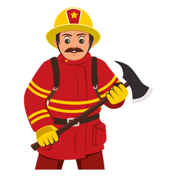Firefighter carrying axe