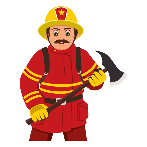 Firefighter carrying axe Transparent PNG