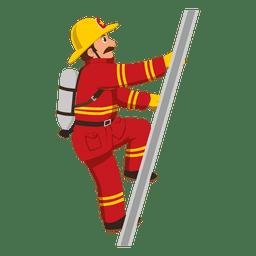 Firefighter climbing ladder