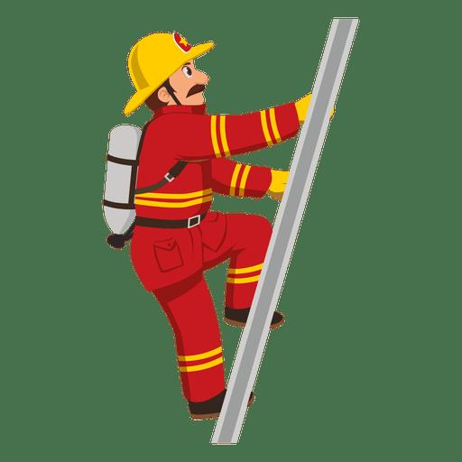 Firefighter climbing ladder Transparent PNG