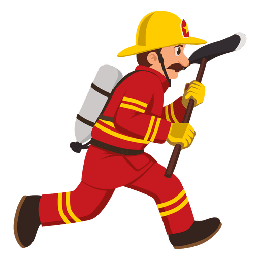 Firefighter running with axe Transparent PNG