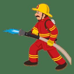 Feuerwehrmann mit Schlauchleitung
