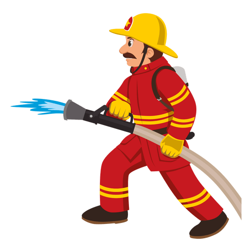 Firefighter with hose pipe Transparent PNG