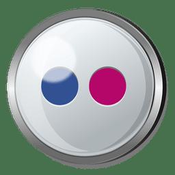 Flickr redondo botón de metal