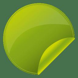 Pegatina redonda verde volteada