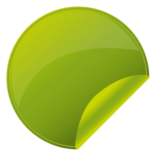 Flipped green round sticker transparent png