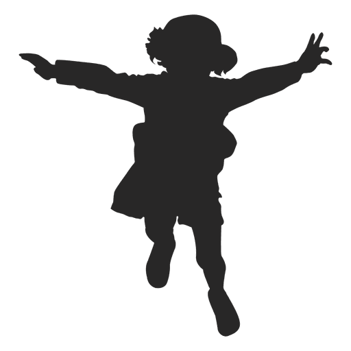 Silhouette of girl jumping - Transparent -  5.1KB