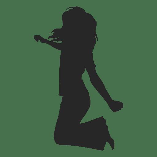 Icono de silueta de niña saltando