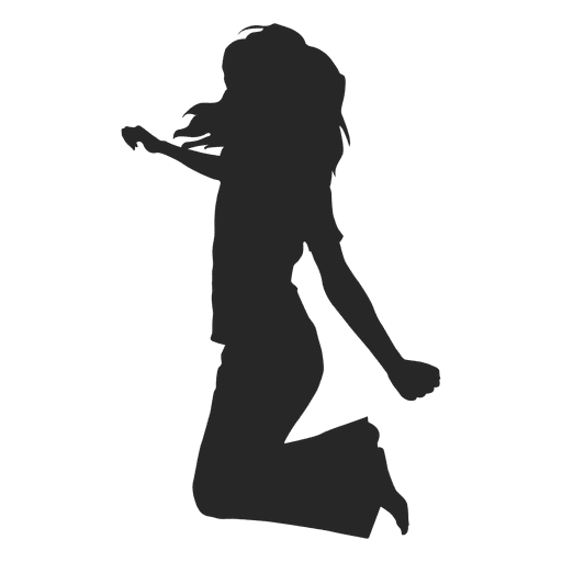 Jumping Girl Silhouette Icon  Transparent PNG