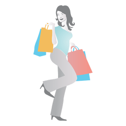 Girl shopping cartoon