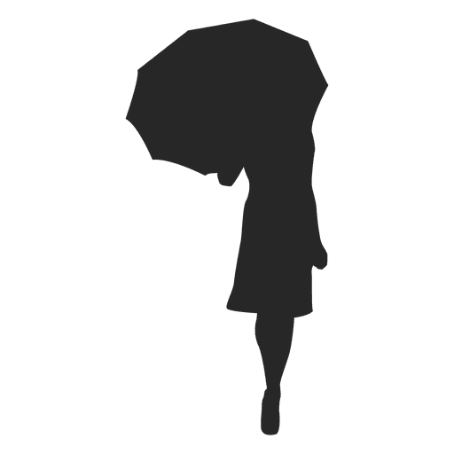 Girl walking with umbrella gray silhouette Transparent PNG
