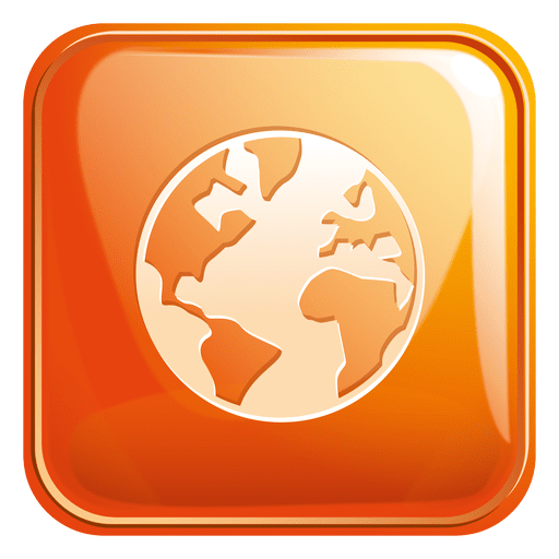 Globe square icon 3 png