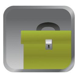 Icono de maletín verde cuadrado