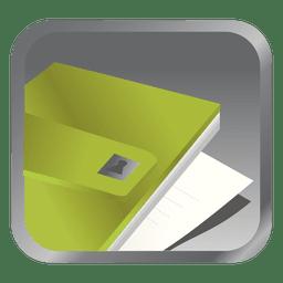 Ícone quadrado arquivo verde