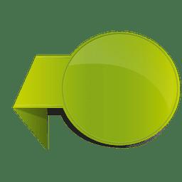 Pegatina volteada verde