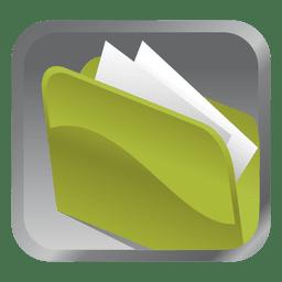 Carpeta verde icono cuadrado