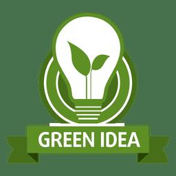 Etiqueta de bombilla de idea verde