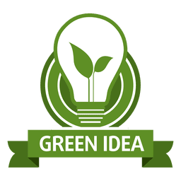 Green idea bulb label