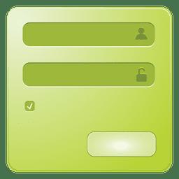 Caja de inicio de sesión verde