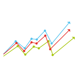 Gráfico de líneas de colores crecientes