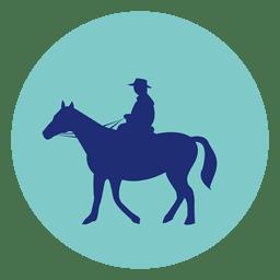 Horseman round icon