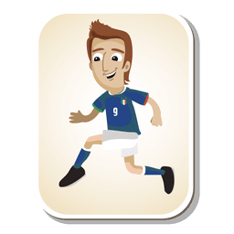 Dibujos animados de futbolista de Italia