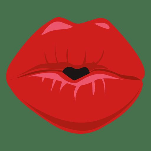 Expresión de labios besos