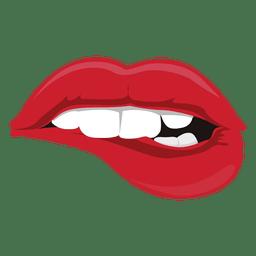 Lippen beißen Ausdruck