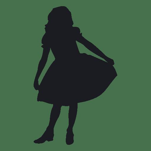 Kleines Mädchen tanzen Silhouete Transparent PNG