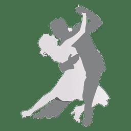Amantes dançando silhueta