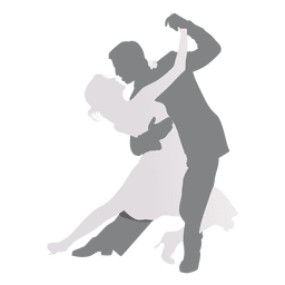 Lovers dancing silhouette