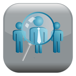 Magnifier people square icon