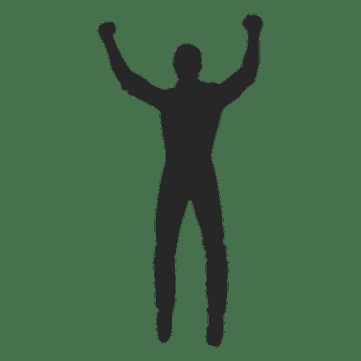 Man celebrating hands up Transparent PNG