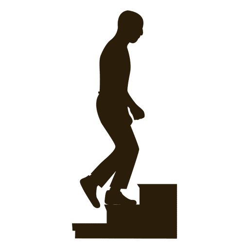 Man Climbing Stairs Silhouette Sequence