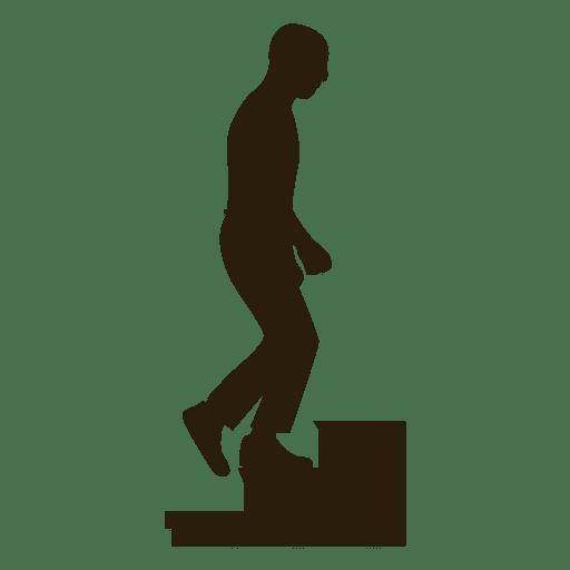 Secuencia de silueta de hombre subiendo escaleras