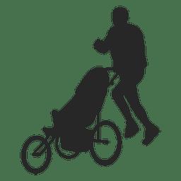 Homem, empurrar, criança, carruagem