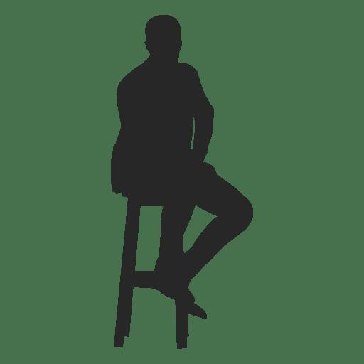 Hombre sentado en taburete