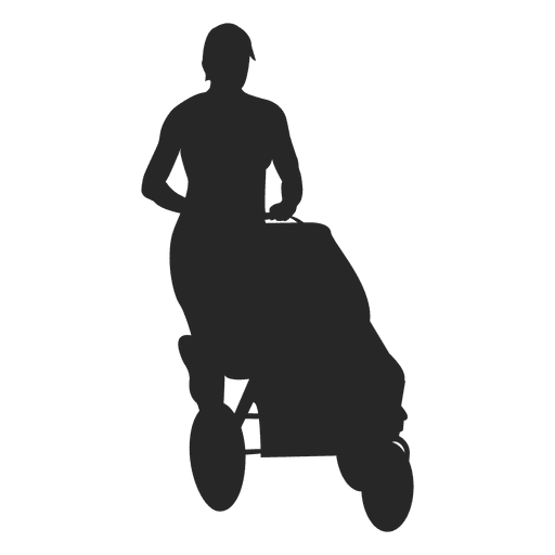 Mom pushing baby carriage Transparent PNG