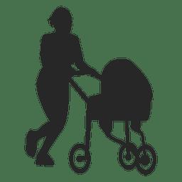 Madre que empuja el carro de bebé