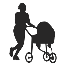 Mother pushing baby carriage