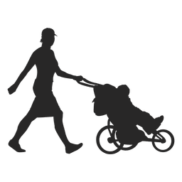 Mother pushing child carriage