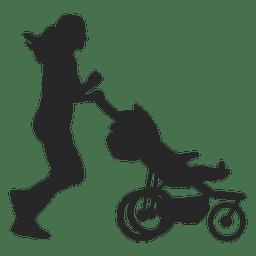 Mãe, com, criança, carruagem