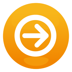 Orange arrow round button
