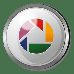 Botón redondo de metal de Picasa.