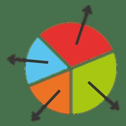 Gráfico circular con flechas