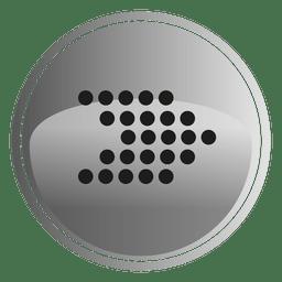 Botão redondo de seta pixelizada