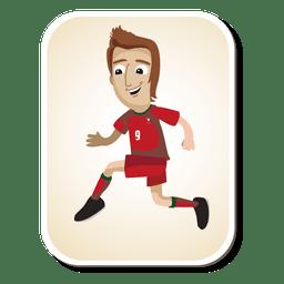 Dibujos animados de jugador de fútbol de Portugal